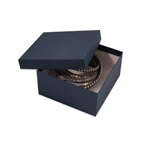 "Navy Blue Kraft Jewellery Boxes - 3-1/2"" x 3-1/2"" x 1-7/8"""