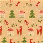 Gift Wrap Christmas Paper - Houses & Trees on Kraft
