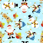 Gift Wrap Christmas Paper - Santa on Light Blue
