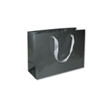 "Ribbon Handle Bags - 12-1/2"" x 4-1/2"" x 9"" Gloss Pewter - 100/Pack"