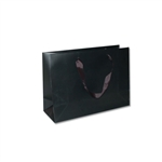 "Ribbon Handle Bags- 12-1/2"" x 4-1/2"" x 9"" Matte Black - 100/Pack"