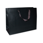 "Ribbon Handle Bags - 16"" x 6"" x 12"" Matte Black - 100/Pack"