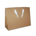 "Ribbon Handle Bags - 16"" x 6"" x 12"" Kraft - 100/Pack"