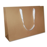 "Ribbon Handle Bags - 20"" x 6"" x 14"" Kraft - 50/Pack"