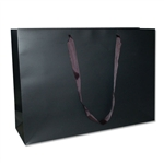 "Ribbon Handle Bags - 20"" x 6"" x 14"" Matte Black - 50/Pack"