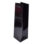 "Ribbon Handle Wine Bags - 4-1/2"" x 15"" x 4-1/2"" Gloss Black - 100/Pack"