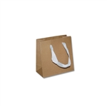 "Ribbon Handle Bags - 6"" x 3"" x 6"" Kraft - 100/Pack"