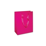 "Ribbon Handle Bags - 8"" x 4"" x 10"" Gloss Pink - 100/Pack"