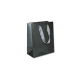 "Ribbon Handle Bags - 8"" x 4"" x 10"" Gloss Pewter - 100/Pack"