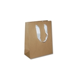 "Ribbon Handle Bags  - 8"" x 4"" x 10"" Kraft - 100/Pack"