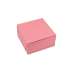 "6"" x 6"" x 3"" Pink Kraft Bakery Pastry Boxes"