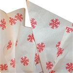 "Red Snowflake Pattern Tissue Paper -20"" x 30"" Sheets - 240 / Pack"