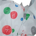 "Christmas Joy Pattern Tissue Paper - 20"" x 30"" Sheets - 240 / Pack"