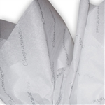 Congratulations Silver Patterned Tissue Paper