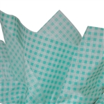 Gingham Tissue Paper - Light Green  & White