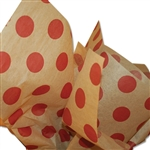 Burgundy Dots on Kraft Patterned Tissue Paper