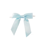 Pre-Tied Satin Twist Tie Bows - Light Blue