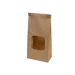 "Kraft tin tie bags with Windows 4-3/4"" x 2-1/2"" x 9-1/2"""