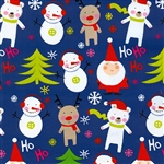 Gift Wrap Christmas Paper - Santa on Dark Blue