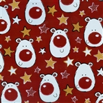 Gift Wrap Christmas Paper - Reindeers on Metallic Red