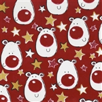 Gift Wrap Shimmer Red Polar Bears Christmas Pattern