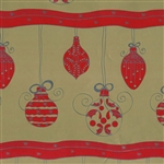Gift Wrap Red & Silver Ornaments Christmas Pattern