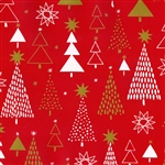 Gift Wrap Christmas Paper - Red & Gold Trees
