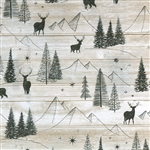 Gift Wrap Christmas Paper - Mountains & Deer