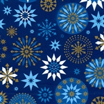 Blue Gold Snowflakes Christmas Gift Wrap Paper