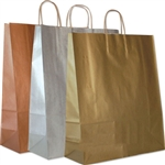 "Metallic Kraft Paper Shopping Bags: 16"" x 6"" x 19"" - 200 Bags/Case"
