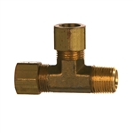 Compression Tube x NPTF Pipe Male Run Tee Brass Fitting