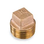 SC-36SC1L | Lead-Free Brass 125# Threaded Square Head Cored Plug, UL