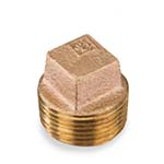 SC-36SS1L | Lead-Free Brass 125# Threaded Square Head Solid Plug, UL