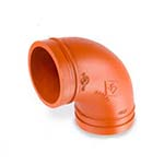 SC-65E | Grooved 90° Elbow Standard Radius Orange Paint Coating UL/FM–65E