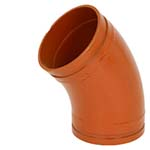 SC-65FLR | Grooved 45° Long Radius Elbow–1–1/2D Orange Paint Coating–66FLR