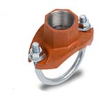 SC-65MU | Grooved Strap Tee Threaded Outlet Orange Paint UL/FM - 65MU