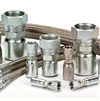 Photo of Stainless Steel fittings and hose on white background