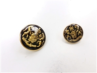 Blazer Button 111 - 2 Sizes (Golden Shield with Black Background) - in Pack