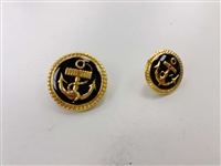 Blazer Button 113 - 2 Sizes (Gold Anchor with Black Background) - in Pack