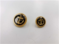 Blazer Button 115 - 2 Sizes (Golden Anchor on Black Background) - in Pack