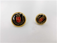 Blazer Button 117 - 2 Sizes (Red Shield on Black Background) - in Pack