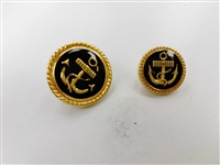 Blazer Button 118 - 2 Sizes (Golden Anchor on Black Background) - in Pack
