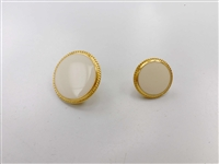 Blazer Button 119 - 2 Sizes (White Circle with Golden Rim) - in Pack