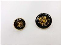 Blazer Button 120 - 2 Sizes (Golden Shield on Black Background) - in Pack