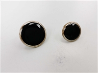 Blazer Button 121 - 2 Sizes (Black Circle with Silvery Rim) - in Pack