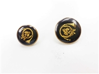 Blazer Button 123 - 2 Sizes (Golden Trumpet on Black Background) - in Pack
