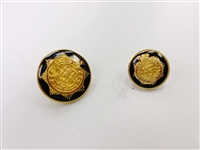 Blazer Button 124 - 2 Sizes (Golden Shield on Black Background) - in Pack