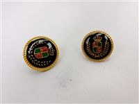 Blazer Button 127 - 2 Sizes (Red, Green, Golden Shield on Black Background) - in Pack