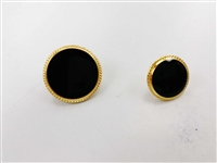 Blazer Button 128 - 2 Sizes (Black Circle with Golden Rim) - in Pack