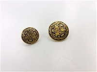 Blazer Button 137 - 2 Sizes (Golden Pattern on Black Background) - in Pack